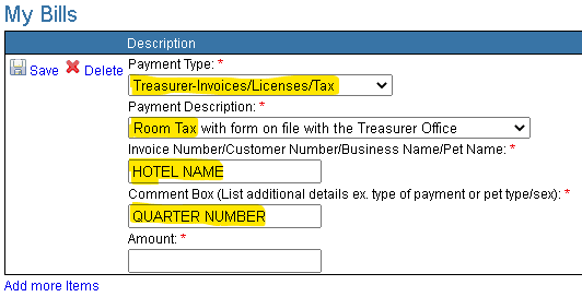 Room Tax Payment Screen Shot Opens in new window