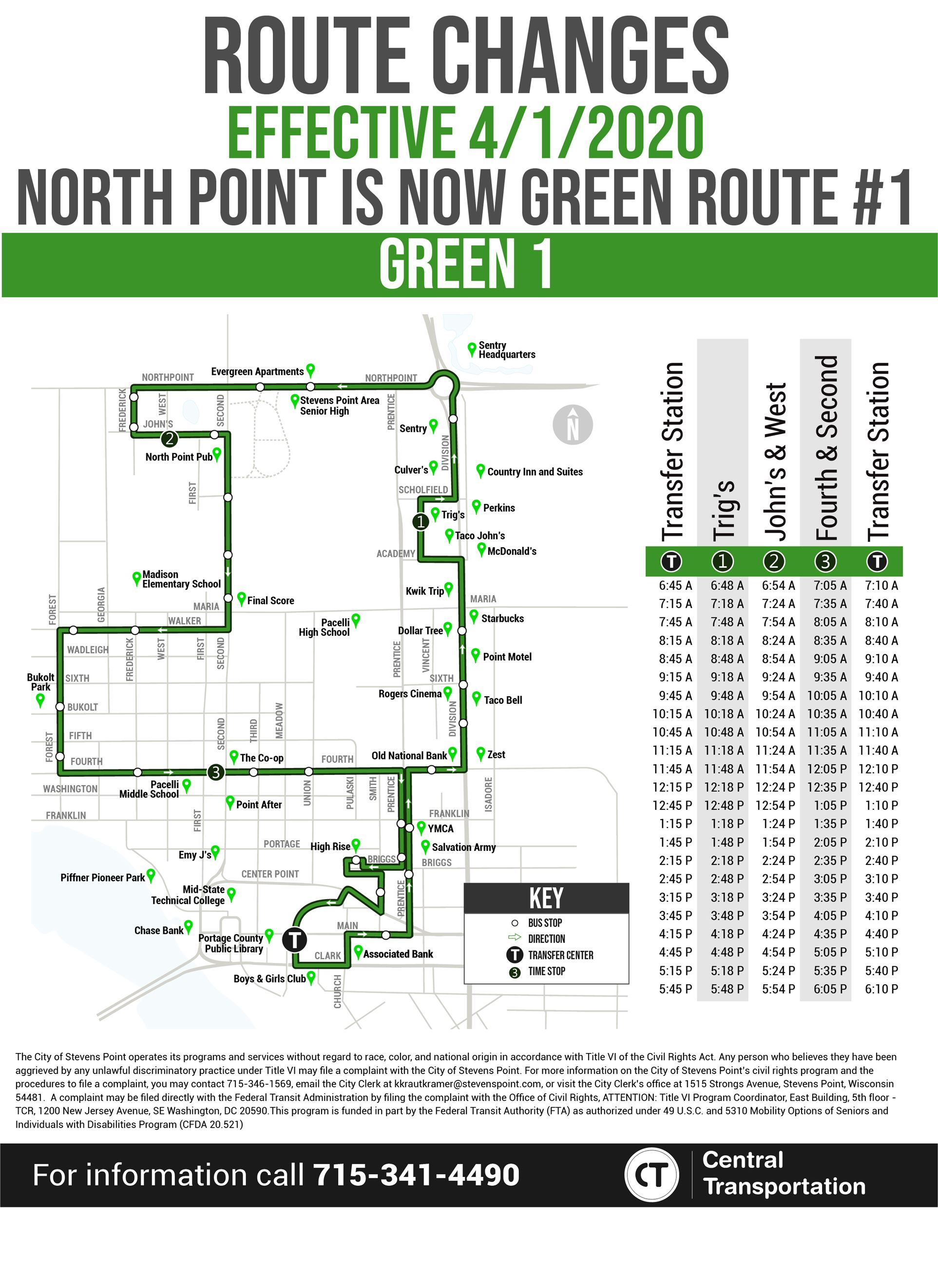 North Point Green Route 1 Changes
